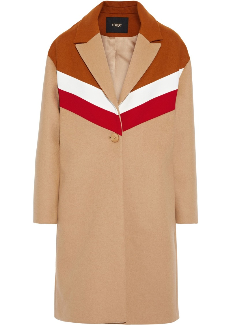 Maje Woman Gorel Color-block Wool And Cashmere-blend Coat Sand
