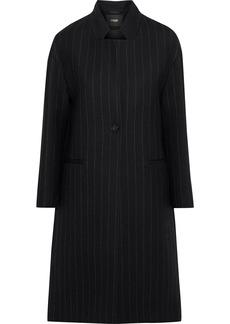 Maje Woman Gremi Pinstriped Wool-blend Gabardine Coat Black