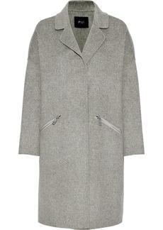 Maje Woman Grima Wool-blend Felt Coat Light Gray