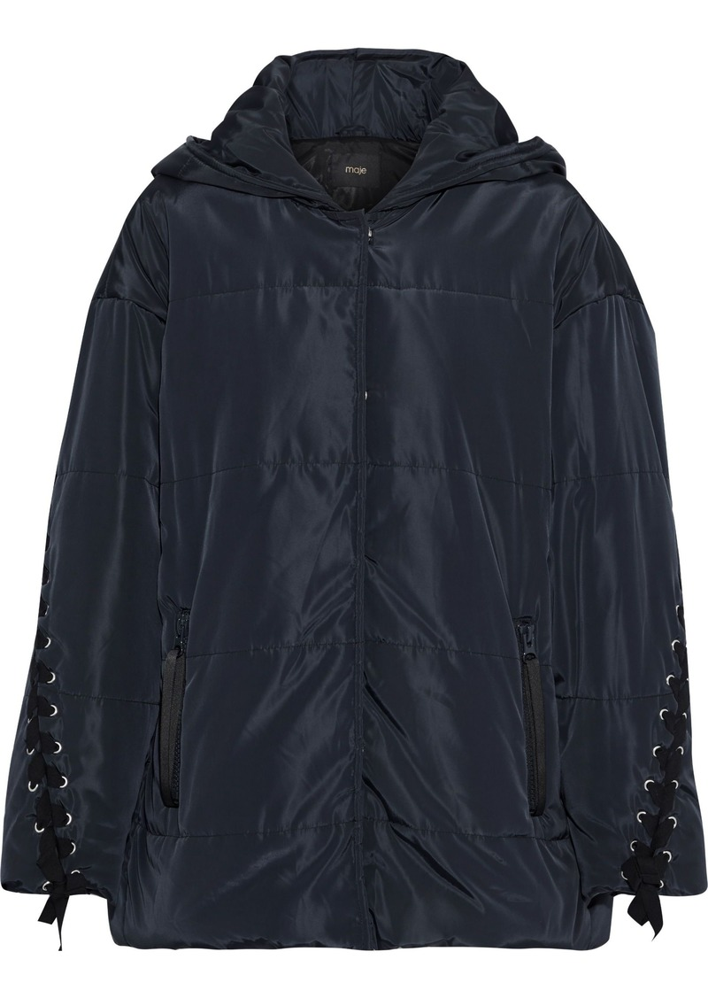 Maje Woman Guelone Lace-up Quilted Shell Hooded Jacket Midnight Blue