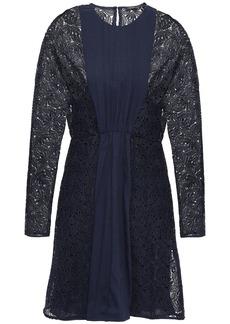Maje Woman Guipure Lace-paneled Pleated Crepe Mini Dress Midnight Blue