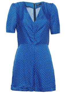 Maje Woman Ilona Ruched Printed Satin Playsuit Royal Blue