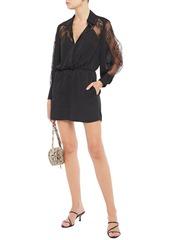 Maje Woman Ines Lace-paneled Crepe De Chine Playsuit Black