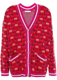 Maje Woman Jacquard-knit Cardigan Red