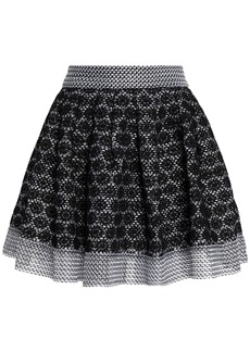 Maje Woman Jania Flared Embroidered Mesh Mini Skirt Black