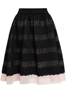 Maje Woman Jarod Flared Layered Lace And Mesh Skirt Black