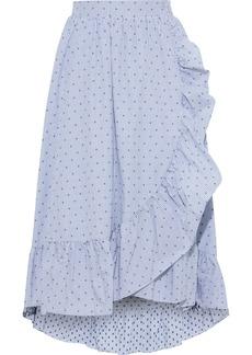 Maje Woman Johno Wrap-effect Cotton-jacquard Midi Skirt Sky Blue