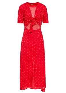 Maje Woman Knotted Cutout Polka-dot Satin-jacquard Midi Dress Red