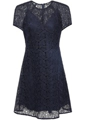 Maje Woman Flared Guipure Lace Mini Dress Midnight Blue