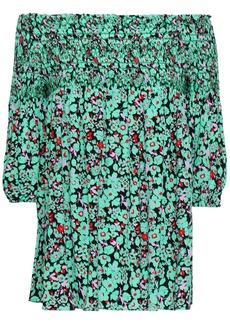 Maje Woman Lafine Off-the-shoulder Floral-print Crepe De Chine Top Light Green