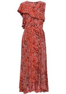 Maje Woman Layered Printed Crepe De Chine Midi Dress Tomato Red