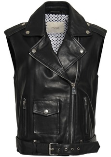 Maje Woman Leather Biker Vest Black