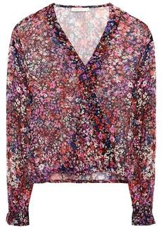 Maje Woman Lehane Wrap-effect Floral-print Silk-crepon Blouse Black