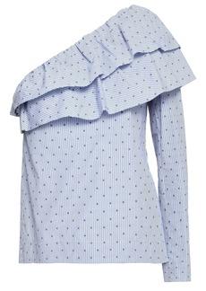 Maje Woman Lelina One-shoulder Striped Fil Coupé Cotton-poplin Top Sky Blue