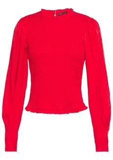 Maje Woman Limine Shirred Satin-jacquard Top Red