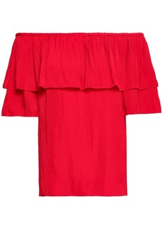 Maje Woman Locao Off-the-shoulder Ruffled Poplin Top Red