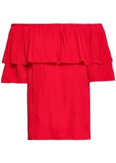81f8da849600ca Maje Woman Locao Off-the-shoulder Ruffled Poplin Top Red