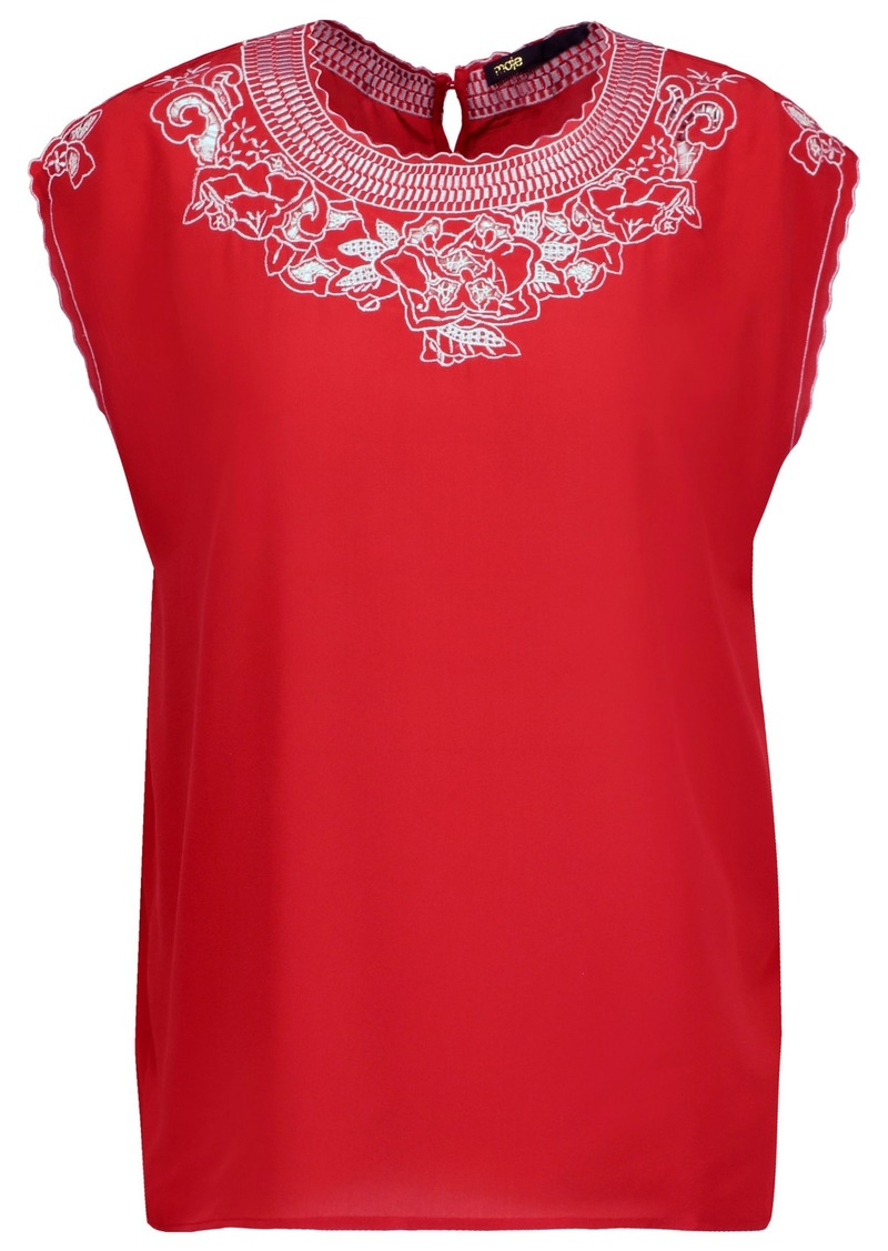 Maje Woman London Broderie Anglaise Silk Crepe De Chine Top Red