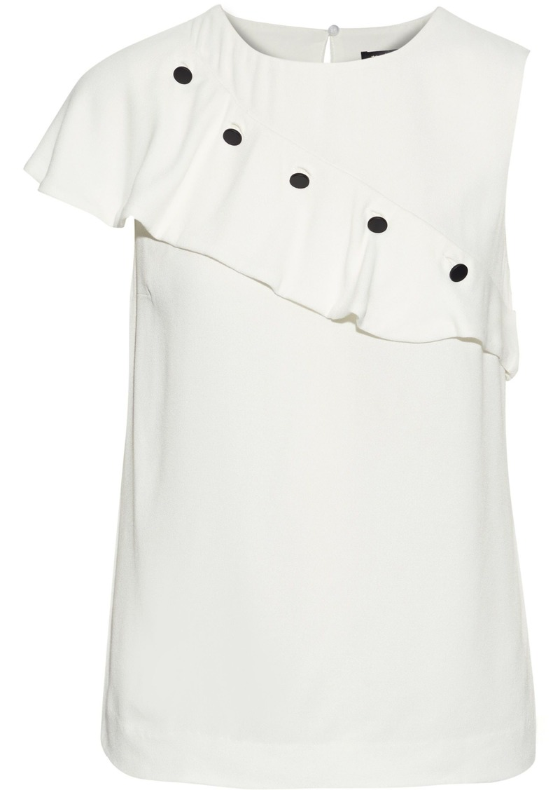 Maje Woman Lorena Button-detailed Ruffled Crepe Top White
