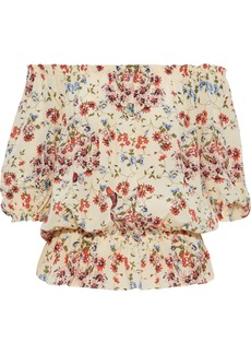 Maje Woman Lucky Off-the-shoulder Floral-print Silk Crepe De Chine Blouse Pastel Yellow