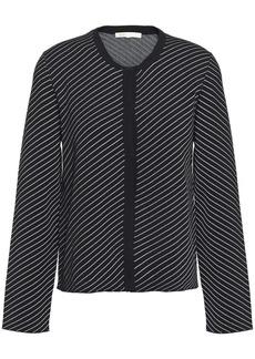 Maje Woman Malicia Striped Stretch-knit Cardigan Black