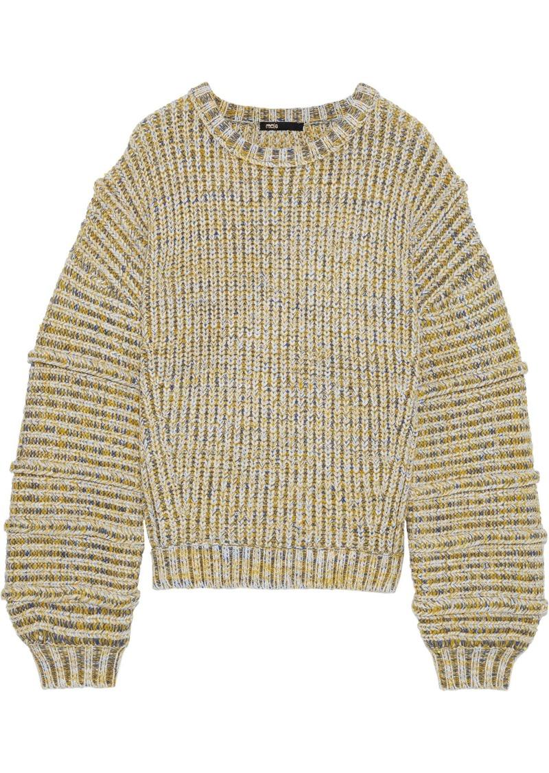Maje Woman Maous Marled Ribbed-knit Sweater Yellow