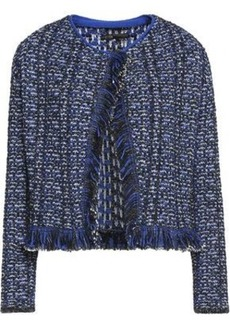 Maje Woman Marius Fringe-trimmed Metallic Bouclé Jacket Midnight Blue