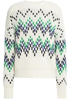 Maje Woman Massimo Jacquard-knit Wool-blend Sweater Off-white