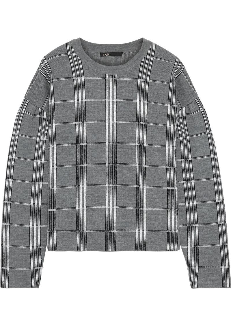 Maje Woman Mission Intarsia-knit Sweater Gray