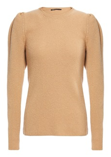 Maje Woman Mobil Ribbed Wool-blend Sweater Camel
