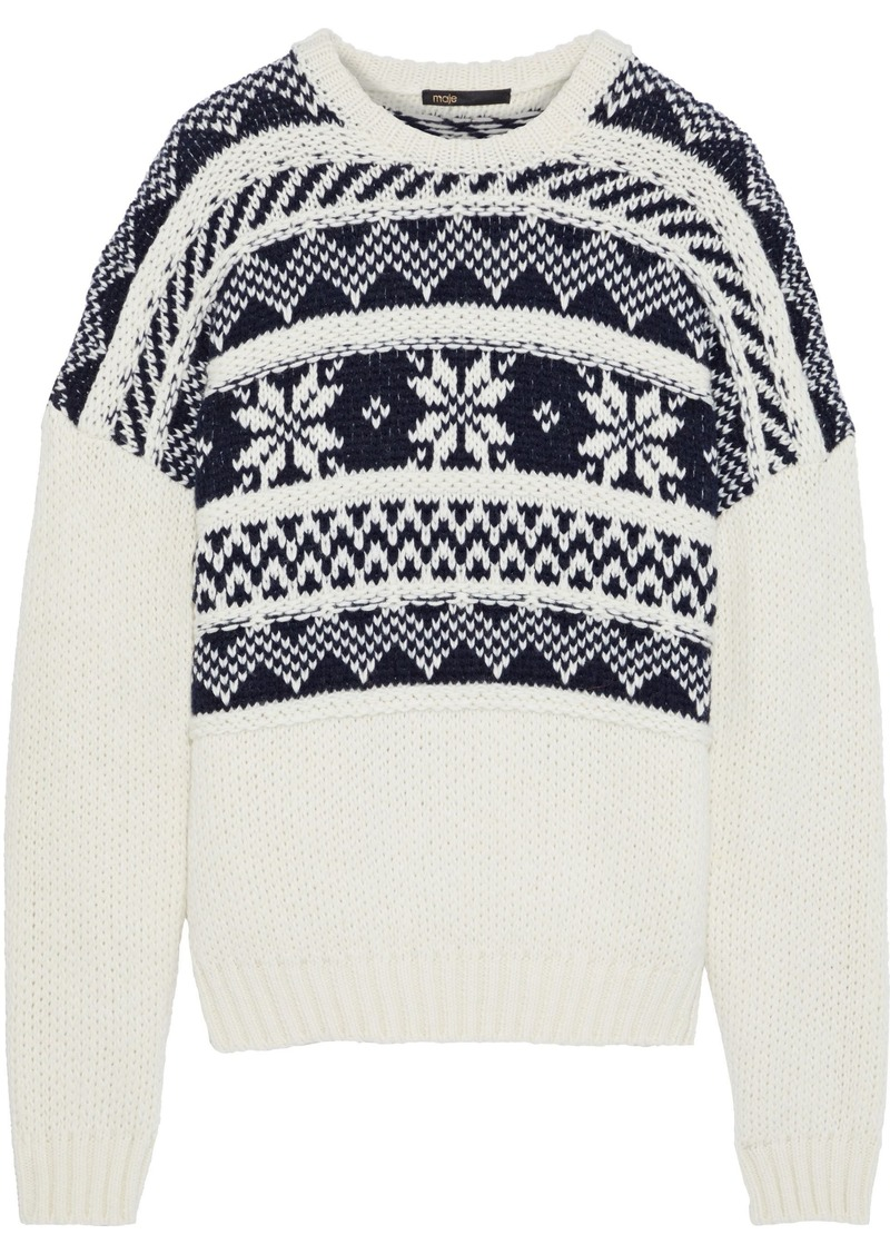 Maje Woman Mockoon Fair Isle Intarsia-knit Sweater Ivory