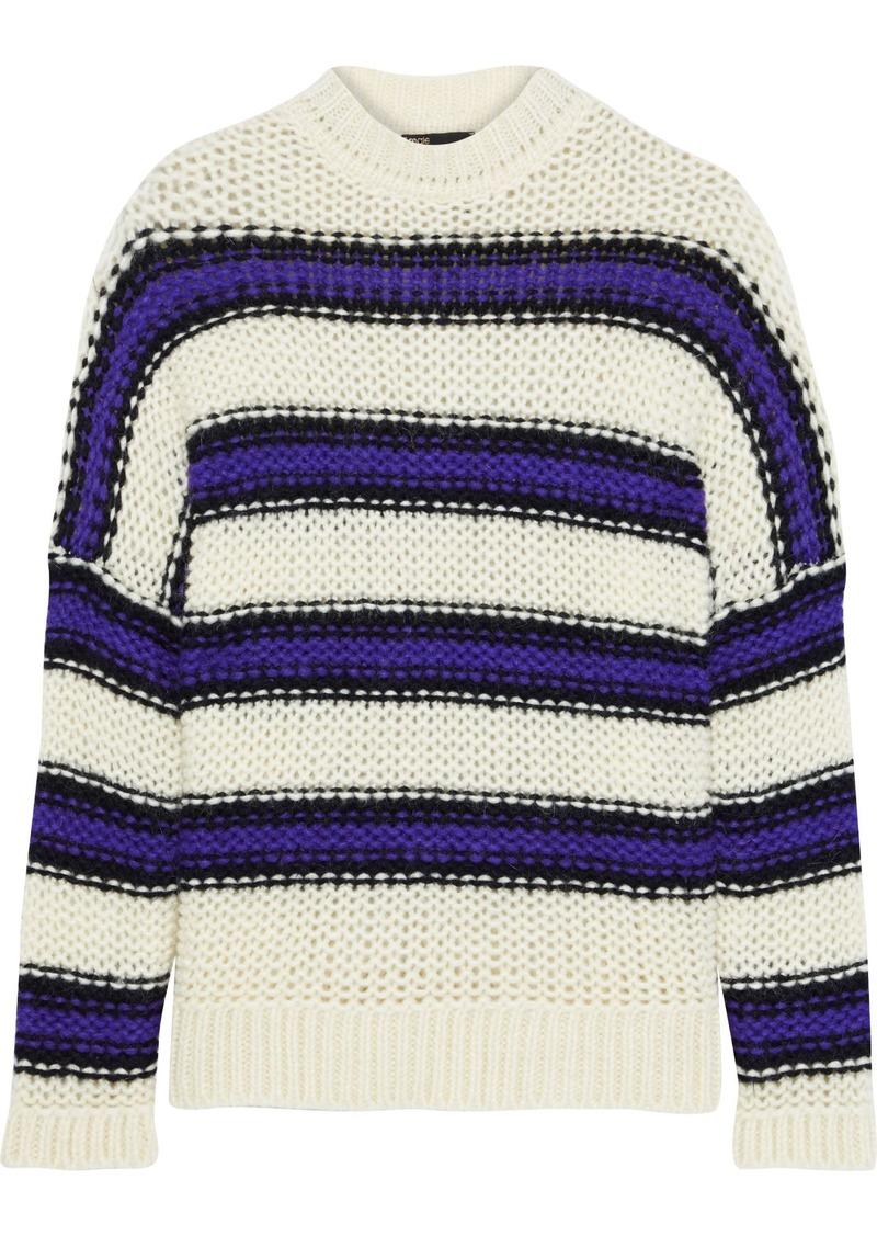 Maje Woman Morena Intarsia-knit Sweater Ecru