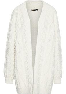 Maje Woman Mouffle Cable-knit Wool-blend Cardigan Off-white