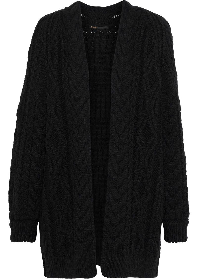 Maje Woman Mouffle Cable-knit Wool-blend Cardigan Black