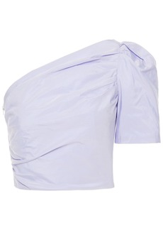 Maje Woman One-shoulder Ruched Taffeta Top Lavender