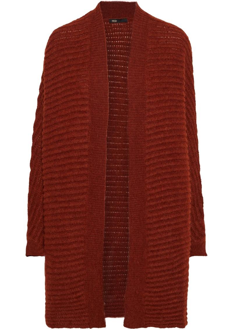 Maje Woman Oversized Brushed Ribbed-knit Cardigan Tan