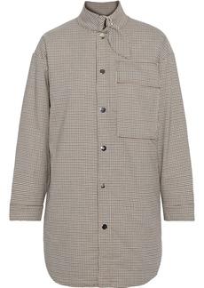 Maje Woman Vicago Oversized Houndstooth Flannel Shirt Mushroom