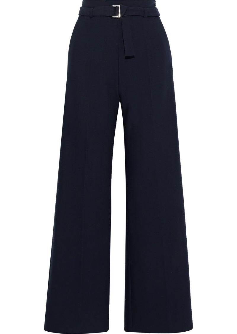 Maje Woman Parc Belted Crepe Wide-leg Pants Midnight Blue