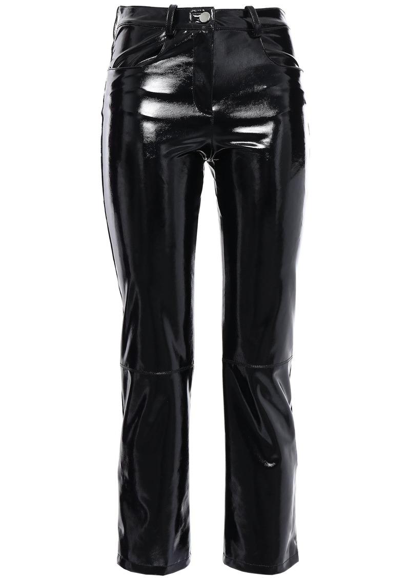 Maje Woman Paveli Cropped Stretch-vinyl Slim-leg Pants Black