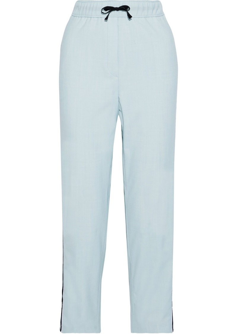 Maje Woman Payoli Snap-detailed Crepe Straight-leg Pants Sky Blue