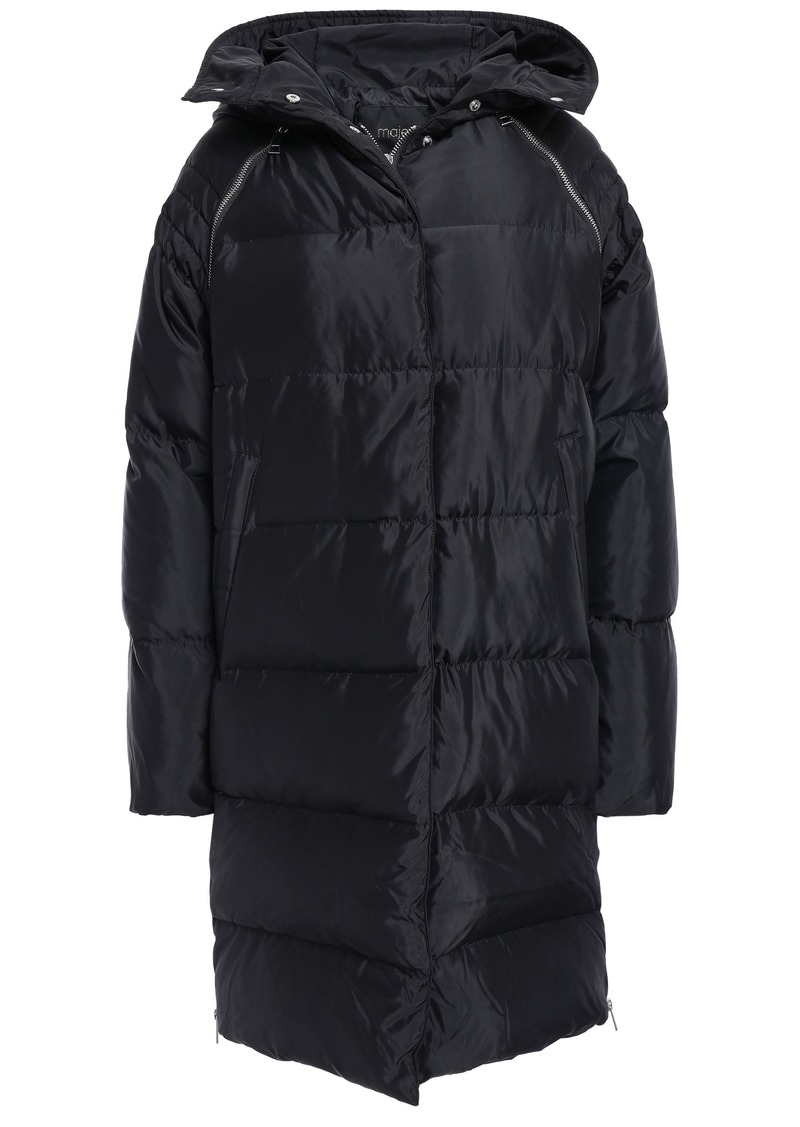 Maje Woman Quilted Shell Hooded Down Coat Black