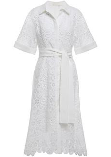 Maje Woman Ralfa Belted Crepe-trimmed Guipure Lace Midi Shirt Dress White