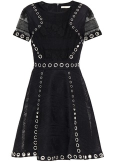 Maje Woman Ranch Eyelet-embellished Embroidered Tulle Mini Dress Black
