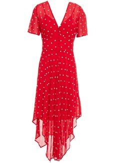 Maje Woman Raola Embroidered Crepe Dress Red