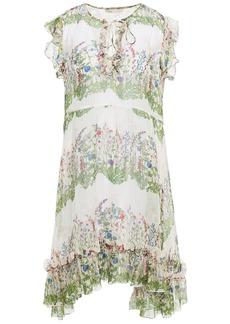 Maje Woman Reinette Ruffled Metallic Floral-print Silk-blend Crepon Dress Ecru