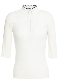 Maje Woman Ribbed Cotton-blend Top Off-white
