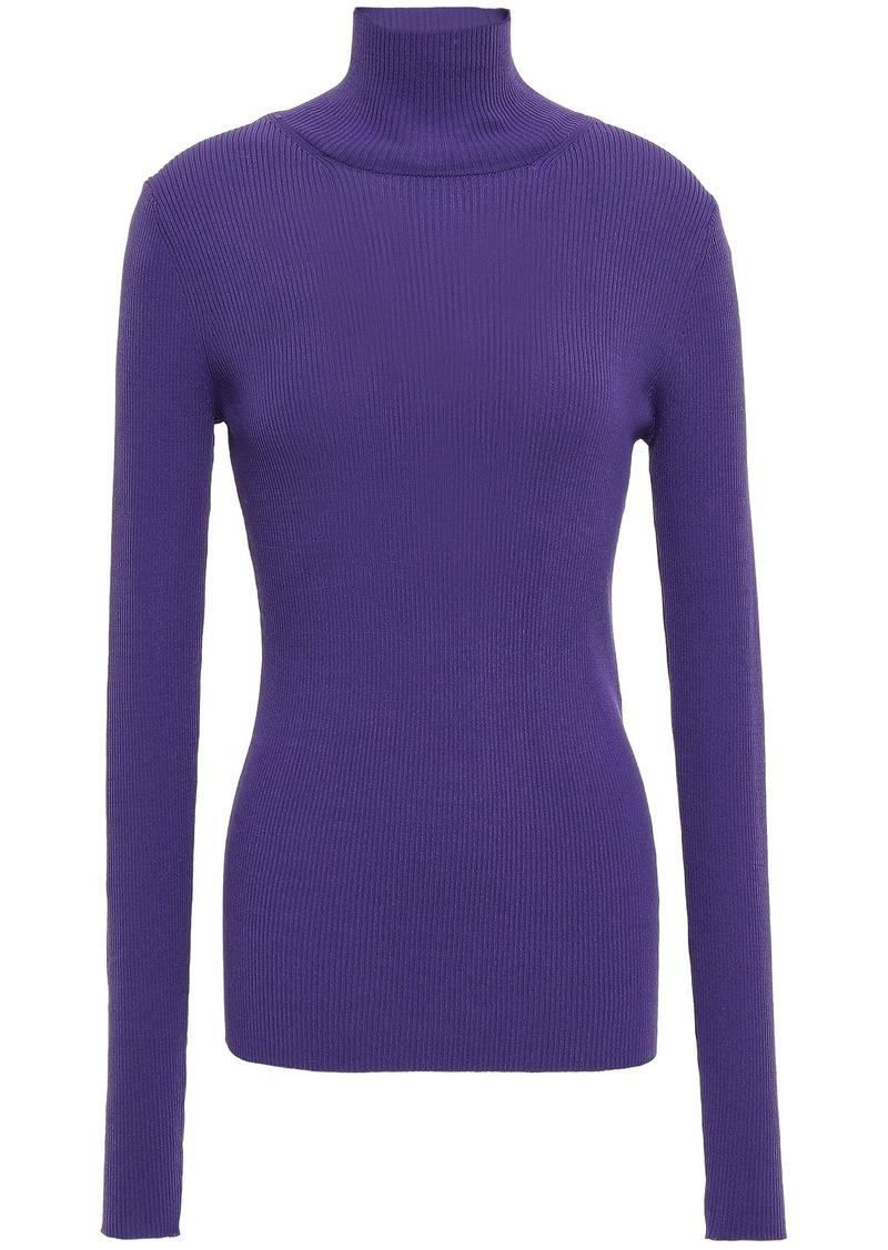 Maje Woman Ribbed-knit Turtleneck Sweater Violet