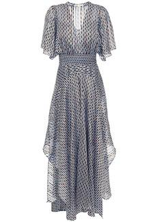 Maje Woman Richelane Shirred Printed Metallic Jacquard Maxi Dress Blue