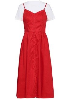 2cae9ba38938 Maje Woman Rimana Layered Stretch-modal Jersey And Cotton-poplin Midi Dress  Red