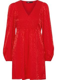 Maje Woman Rimine Shirred Satin-jacquard Mini Dress Tomato Red
